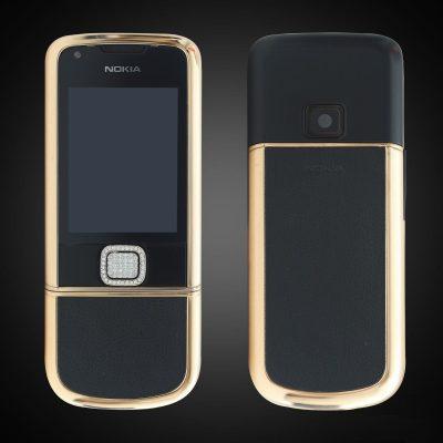 Nokia 8800E Rose Gold đính đá (da đen)